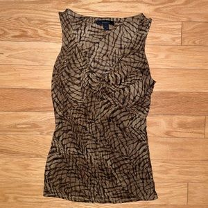 Express Gold and Brown Patterned Sleeveless Top